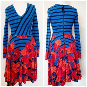 Tracy Reese long sleeve patterned dress size M